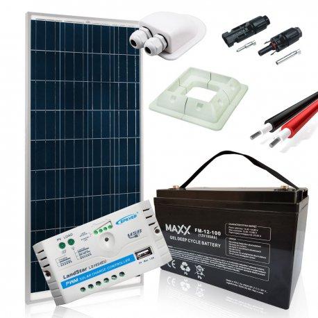 Zestaw zasilania solarnego na kamper z akumulatorem 100Ah – Moc 160W Maxx